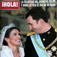 Coleccionismo de Revista Hola: HOLA NUM. 3.122 DEL 3 DE JUNIO DE 2004. BODA DEL PRINCIPE FELIPE Y DOÑA LETIZIA ORTIZ. Lote 121561931
