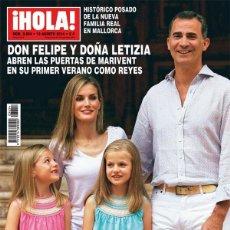 Coleccionismo de Revista Hola: REVISTA HOLA NUM. 3.654, 13 AGOSTO 2014. DON FELIPE Y DOÑA LETIZIA PRIMER VERANO COMO REYES. Lote 121601919