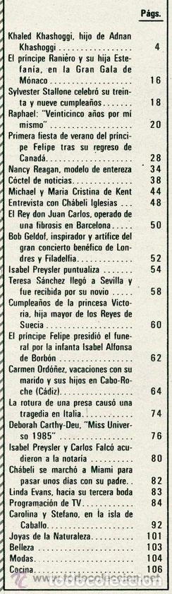 Coleccionismo de Revista Hola: HOLA - 1985 - ISABEL PREYSLER, SYLVESTER STALLONE, ESTEFANIA, RAPHAEL, CHABELI, MISS UNIVERSO - Foto 2 - 52541340
