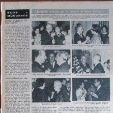 Coleccionismo de Revista Hola: RECORTE HOLA Nº 1170 1967 SEÑORTES DE MAGNO RODRÍGUEZ, ANA ADAMUZ. Lote 137291250