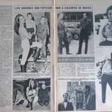 Coleccionismo de Revista Hola: RECORTE HOLA Nº 1170 1967 LOS BARONES VON THYSSEN VAN A CASARSE DE NUEVO. Lote 137291350