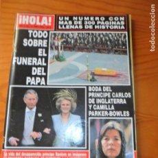 Coleccionismo de Revista Hola: ¡HOLA! Nº 3168, 2005- ESPECIAL FUNERAL PAPA JUAN PABLO Y RANIERO DE MONACO- CHENOA- MECANO- PENELOPE. Lote 143246270
