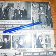Coleccionismo de Revista Hola: RECORTE PRENSA : LA BARONESA THYSSEN ENTREGA PREMIOS ANDREA SERRANO. HOLA, MARZO 1988 (). Lote 157843666