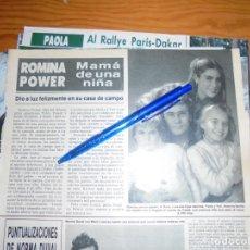Coleccionismo de Revista Hola: RECORTE PRENSA : ROMINA POWER, MADRE DE UNA NIÑA. HOLA, ENERO 1986 (). Lote 158354070