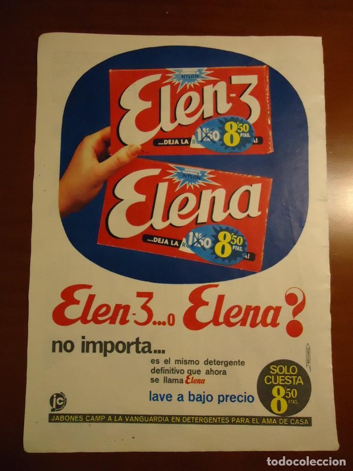 RECORTE PUBLICIDAD DE DETERGENTE ELENA AÑO 1965 (Coleccionismo - Revistas y Periódicos Modernos (a partir de 1.940) - Revista Hola)