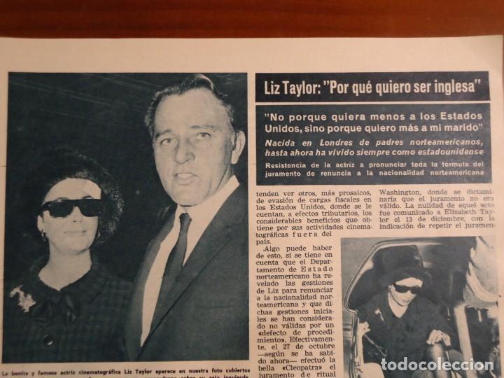 RECORTE REVISTA HOLA AÑO 1965 ARTICULO SOBRE LIZ TAYLOR Y RICHARD BURTON (Coleccionismo - Revistas y Periódicos Modernos (a partir de 1.940) - Revista Hola)