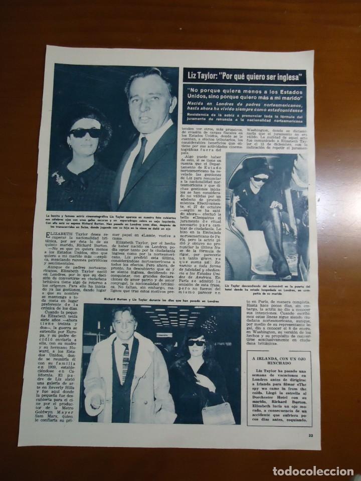 Coleccionismo de Revista Hola: Recorte revista hola año 1965 articulo sobre Liz Taylor y Richard Burton - Foto 2 - 159150538