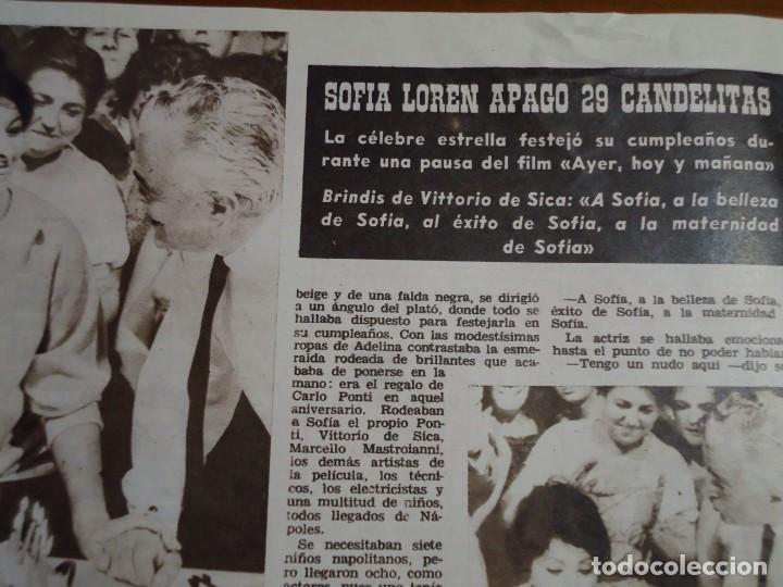 RECORTE REVISTA HOLA AÑO 1963 ARTICULO DE SOFIA LOREN EN SU CUMPLEAÑOS (Coleccionismo - Revistas y Periódicos Modernos (a partir de 1.940) - Revista Hola)