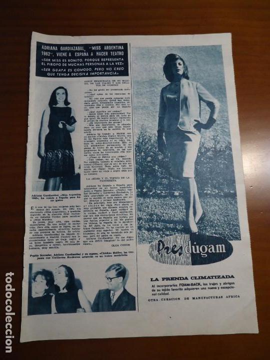 Coleccionismo de Revista Hola: Recorte revista hola año 1963 articulo Miss argentina Adriana - Foto 2 - 159362522