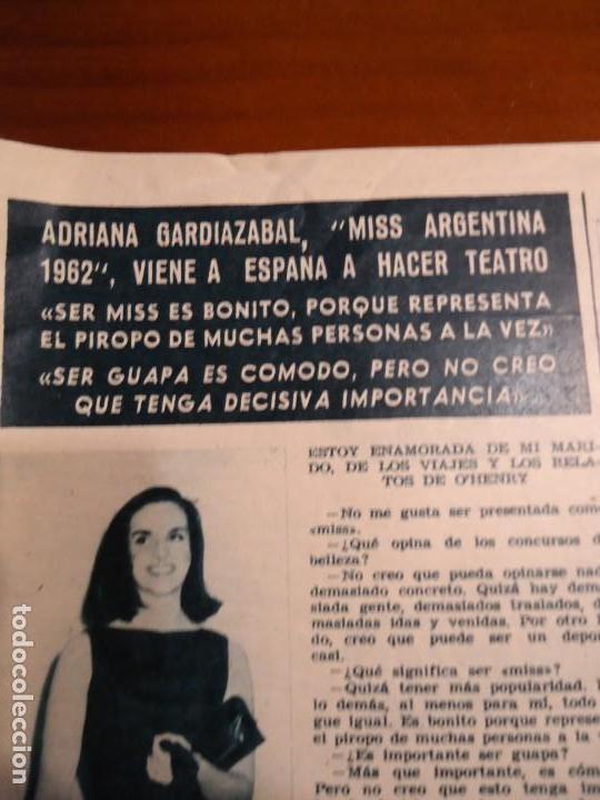 RECORTE REVISTA HOLA AÑO 1963 ARTICULO MISS ARGENTINA ADRIANA (Coleccionismo - Revistas y Periódicos Modernos (a partir de 1.940) - Revista Hola)