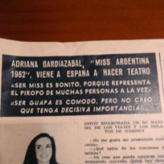Coleccionismo de Revista Hola: RECORTE REVISTA HOLA AÑO 1963 ARTICULO MISS ARGENTINA ADRIANA. Lote 159362522