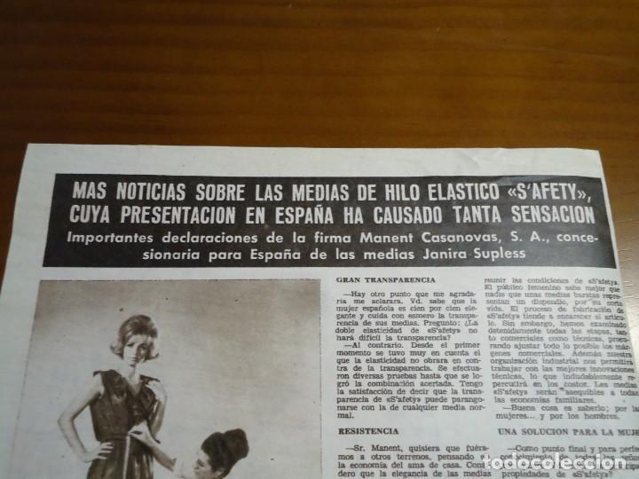 RECORTE REVISTA HOLA AÑO 1963 ARTICULO SOBRE LAS MEDIAS S´AFETY (Coleccionismo - Revistas y Periódicos Modernos (a partir de 1.940) - Revista Hola)
