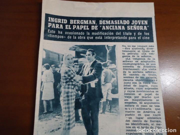 RECORTE REVISTA HOLA AÑO 1963 INGRID BERGMAN (Coleccionismo - Revistas y Periódicos Modernos (a partir de 1.940) - Revista Hola)