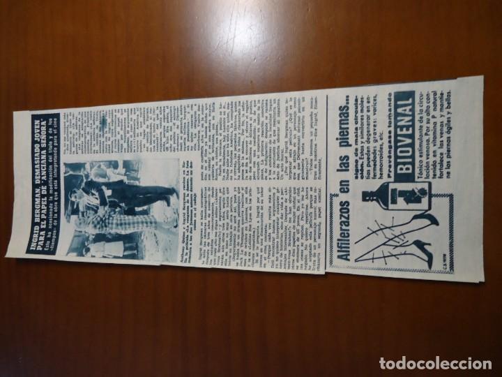 Coleccionismo de Revista Hola: Recorte revista hola año 1963 Ingrid Bergman - Foto 2 - 159363626