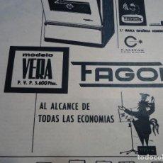 Coleccionismo de Revista Hola: RECORTE REVISTA HOLA AÑO 1963 PUBLICIDAD DE ELECTRODOMESTICOS FAGOR. Lote 159364302