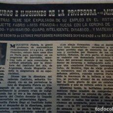 Coleccionismo de Revista Hola: RECORTE DE REVISTA HOLA DE 1963 ARTICULO SOBRE MISS FRANCIA . Lote 159610902