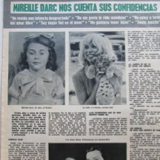 Coleccionismo de Revista Hola: RECORTE REVISTA HOLA Nº 1320 1969 MIREILLE DARC 3 PGS, MISS MUNDO, EVA RUEBER-STAILER. Lote 160098174