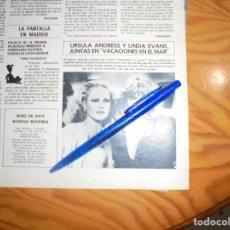 Coleccionismo de Revista Hola: RECORTE : URSULA ANDRESS Y LINDA EVANS, JUNTAS EN VACACIONES EN EL MAR. HOLA, MAYO 1983 (). Lote 160241302