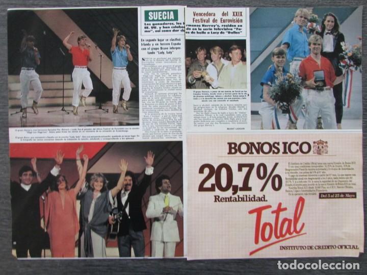 RECORTE REVISTA HOLA Nº 2060 1984 FESTIVAL EUROVISION, SUECIA, GRUPO BRAVO (Coleccionismo - Revistas y Periódicos Modernos (a partir de 1.940) - Revista Hola)