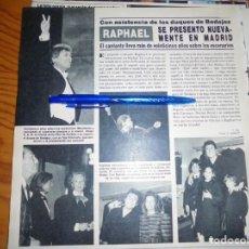 Collectionnisme de Magazine Hola: RECORTE : RAPHAEL SE PRESENTO DE NUEVO EN MADRID. HOLA, MAYO 1986 (). Lote 161767442