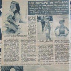 Coleccionismo de Revista Hola: RECORTE REVISTA HOLA Nº 1096 1965 PRINCIPES DE MONACO. CAROLINA Y ALBERTO. GRIMALDI. Lote 161992654