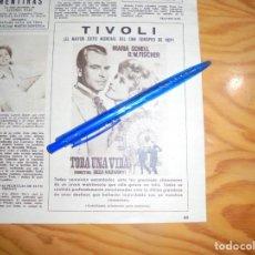 Coleccionismo de Revista Hola: PUBLICIDAD PELICULA : TODA UNA VIDA. MARIA SCHELL. HOLA, JUNIO 1962 (). Lote 164104846