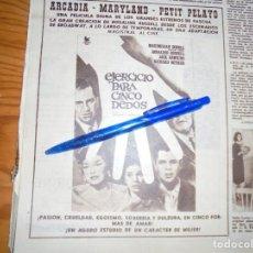 Coleccionismo de Revista Hola: PUBLICIDAD PELICULA : EJERCICIO PARA CINCO DEDOS. ROSALIND RUSSELL. HOLA, ABRIL 1963 (). Lote 164831398