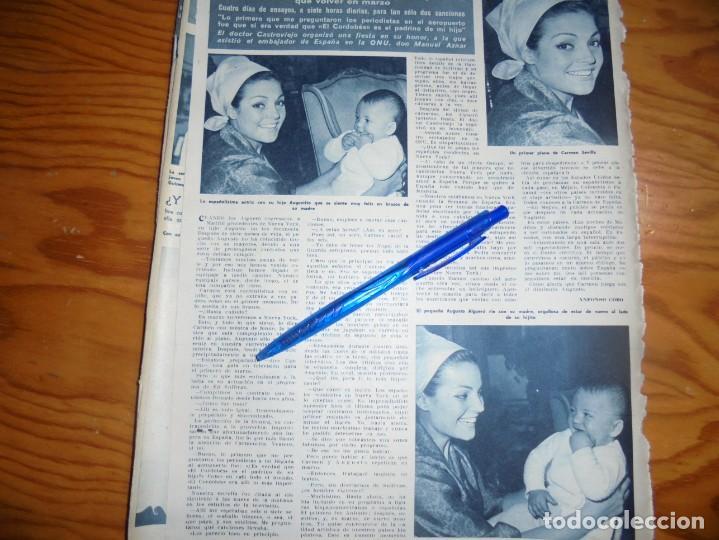 RECORTE : CARMEN SEVILLA REGRESA DE NUEVA YORK . HOLA, MARZO 1965 () (Coleccionismo - Revistas y Periódicos Modernos (a partir de 1.940) - Revista Hola)