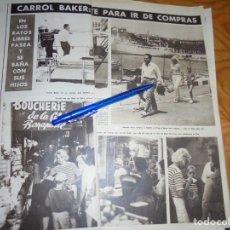 Coleccionismo de Revista Hola: RECORTE : CARROL BAKER, UN YATE PARA IR DE COMPRAS . HOLA, AGOSTO 1965 (). Lote 287975483