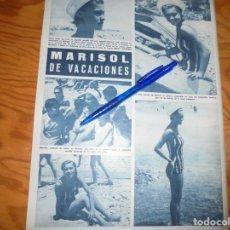 Coleccionismo de Revista Hola: RECORTE : MARISOL, DE VACACIONES EN LAS PLAYAS DE MALAGA. HOLA, AGOSTO 1965 (). Lote 164834758