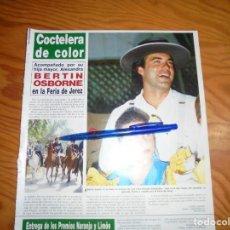 Coleccionismo de Revista Hola: RECORTE : BERTIN OSBORNE EN LA FERIA DE JEREZ. HOLA, MAYO 1986 (). Lote 165756038