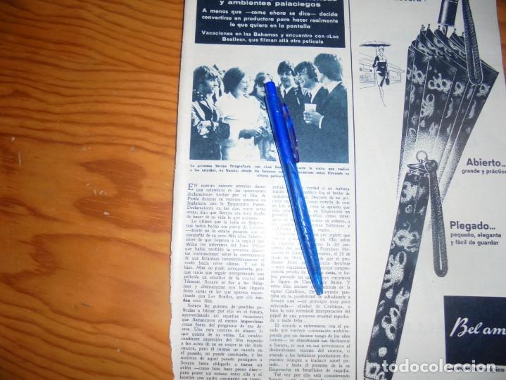 RECORTE : LA PRINCESA SORAYA CON LOS BEATLES. HOLA, MARZO 1965 () (Coleccionismo - Revistas y Periódicos Modernos (a partir de 1.940) - Revista Hola)