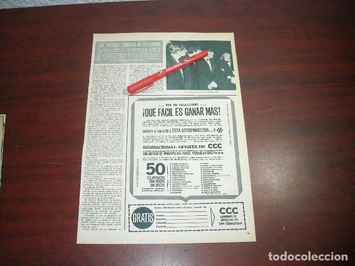 BEATLES RUMORES DE SEPARACION -HOLA AÑO 1966 - RECORTE REVISTA 1 PAG.- (Coleccionismo - Revistas y Periódicos Modernos (a partir de 1.940) - Revista Hola)