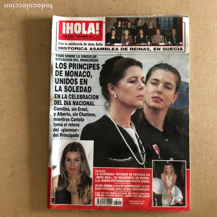 ¡HOLA! N°3409 (DICIEMBRE, 2009). PRINCIPES DE MÓNACO, BARONESA THYSSEN, DOÑA LETIZIA,... (Coleccionismo - Revistas y Periódicos Modernos (a partir de 1.940) - Revista Hola)