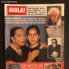Coleccionismo de Revista Hola: ¡HOLA! N°2509 (SEPTIEMBRE, 1992). SARA MONTIEL, PRINCESA DIANA, LAURA VALENZUELA, MARI CRUZ. Lote 168759408