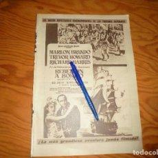 Coleccionismo de Revista Hola: RECORTE : PUBLICIDAD PELICULA : REBELION A BORDO. MARLON BRANDON. HOLA, DCMBRE 1962 (). Lote 169277236