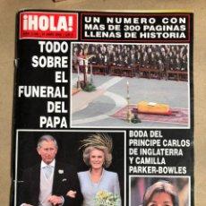 Coleccionismo de Revista Hola: ¡HOLA! N° 3168 (ABRIL 2005). FUNERAL PAPA JUAN PABLO, BODA PRINCIPE CARLOS Y CAMILA,.... Lote 170076548