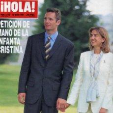 Collectionnisme de Magazine Hola: HOLA Nº 2753 PETICION DE MANO DE LA INFANTA CRISTINA 18 DE MAYO DE 1997 MUY NUEVA. Lote 171779365