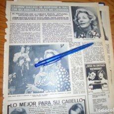 Coleccionismo de Revista Hola: RECORTE : LAUREN BACALL, DEBUT TEATRAL EN LONDRES . HOLA, OCTBRE 1972 (). Lote 172052787