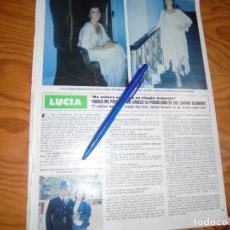 Coleccionismo de Revista Hola: RECORTE : LUCIA, DESPUES DEL EUROVISION. HOLA, MAYO 1982 (). Lote 173519874