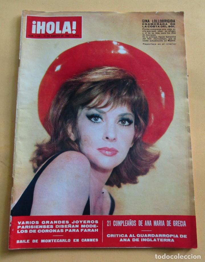 HOLA N º 1148 - GINA LOLLOBRIGIDA - ROMINA POWER - RAQUEL WELCH - JOHNNY HALLYDAY - AGOSTO 1966 (Coleccionismo - Revistas y Periódicos Modernos (a partir de 1.940) - Revista Hola)