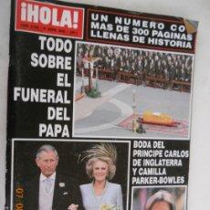 Coleccionismo de Revista Hola: HOLA REVISTA 3168 , 21-04-2005 TODO SOBRE EL FUNERAL DEL PAPA . Lote 173984714