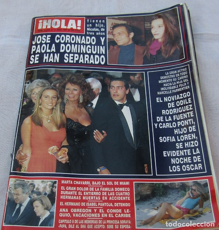HOLA Nº 2435 - JOSE CORONADO/PAOLA DOMINGUIN-ANA OBREGON/CONDE LEQUIO - OSCARS 10 PAG 30 FOTOS -1991 (Coleccionismo - Revistas y Periódicos Modernos (a partir de 1.940) - Revista Hola)