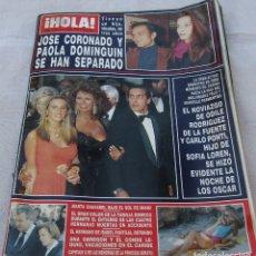 Collectionnisme de Magazine Hola: HOLA Nº 2435 - JOSE CORONADO/PAOLA DOMINGUIN-ANA OBREGON/CONDE LEQUIO - OSCARS 10 PAG 30 FOTOS -1991. Lote 173992448