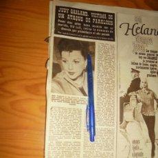 Coleccionismo de Revista Hola: RECORTE : JUDY GARLAND, VICTIMA DE UN ATAQUE DE PARALISIS. HOLA, FBRERO 1963 (). Lote 175347087
