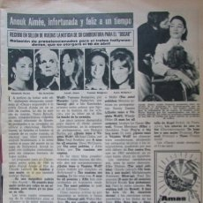 Coleccionismo de Revista Hola: RECORTE HOLA Nº 1175 1967 ANOUK AIMEE. OSCARS 1967. Lote 178122697