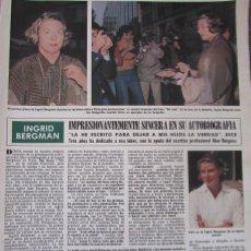 Coleccionismo de Revista Hola: RECORTE REVISTA HOLA Nº 1887 1980 INGRID BERGMAN. Lote 179252473