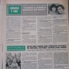 Coleccionismo de Revista Hola: RECORTE REVISTA HOLA Nº 1887 1980 ENRIQUE Y ANA, DAVINIA SANTILLANA CROSS. Lote 179252763