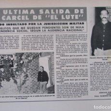 Coleccionismo de Revista Hola: RECORTE REVISTA HOLA Nº 1887 1980 EL LUTE. Lote 179253675