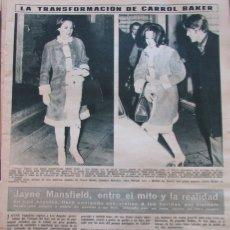 Coleccionismo de Revista Hola: RECORTE REVISTA HOLA Nº 1176 1967 CAROL BAKER, JANE MANSFIELD. Lote 287989463